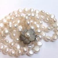 2 Strand necklace of baroque pearls